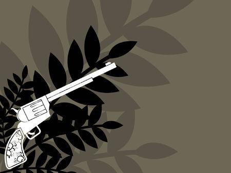 A western revolver gun against some florals.  Vector
