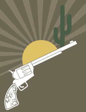 A western revolver gun with a stylistic background.   Vector