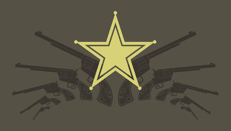 A vector illustration of some revolvers and a sheriff badge.  Vector