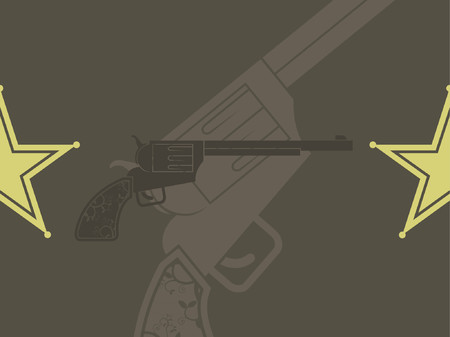 A vector illustration of a revolver and a sheriff badge.  Vector