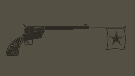A western revolver with a flag coming from the barrel.  Vector