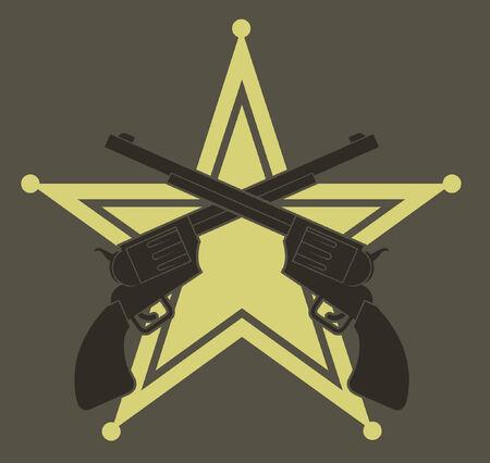 sheriff badge: Dos rev�lveres occidental contra un alguacil insignia.