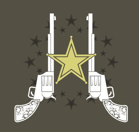 sheriff badge: Dos rev�lveres occidental alineados detr�s de una insignia de sheriff.
