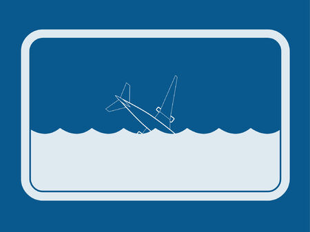 An airplane sinking into the open sea.  Illustration