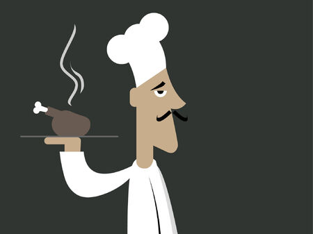 A chef holding a roasted chicken to be served. Vector