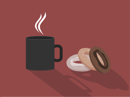 Some hot fresh coffee next to three donuts.