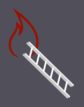 A fire ladder leading up to a flame. Illustration