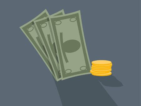stack of cash: Tres letras de dinero junto a una pila de monedas.  Vectores