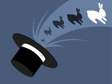 A magicians hat with a rabbit appearing. Vector