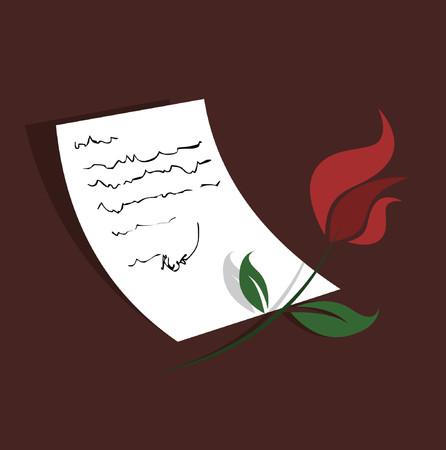 grafix: A red rose next to a hand written letter.