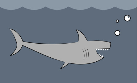 A deadly great white shark in the ocean. Illustration