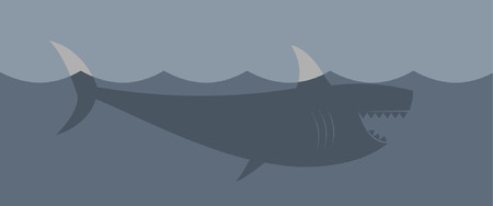 A deadly great white shark in the ocean. Vector
