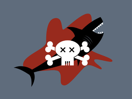 A skull and crossbones graphic against a shark and blood.