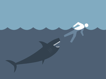 vicious: A great white shark getting ready to catch his prey. Illustration