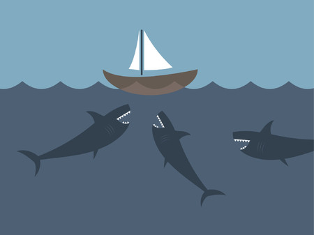 A sail boat surrounded by three sharks.