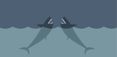 Two deadly great white sharks in the ocean. Vector