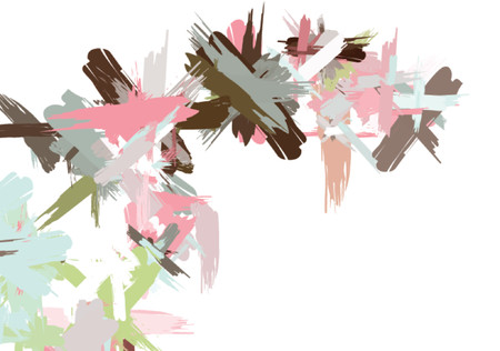 Colorful brush strokes forming extensions that branch off. Vector