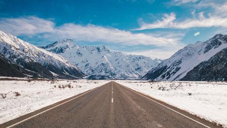 hooker: Hooker valley road in winter  Stock Photo