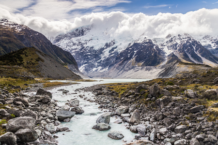 hooker: Hooker River view at Hooker Valley Track, Mount Cook National Park, Mackenzie District, Canterbury, New Zealand Stock Photo