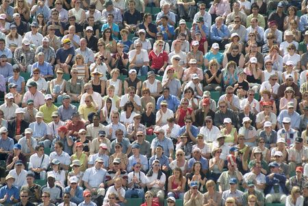 watcher: audience in tennis stadium during the French Stock Photo