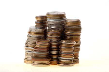 Stack of coins on White background Stock Photo - 3563160