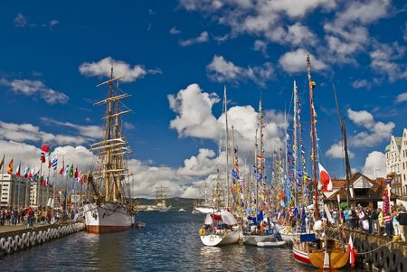 cordage: Sailboats and ships in Bergen city of Norway on a Sunny day!
