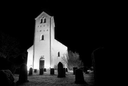 churchyard: Church by night at creepy church yard!