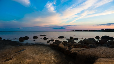 Sunset by the sea in sweden at summer