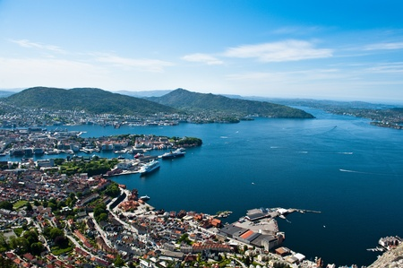 Veiw from one of the surrounding mountains in the Norwegian city Bergen