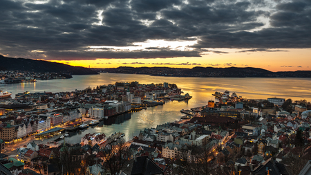 Bergen city in Norway at night view from mountain