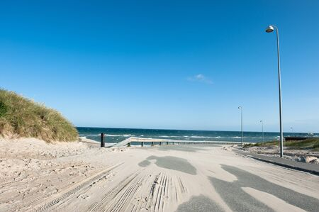 hirtshals: A road in Hirtshals covered with sand