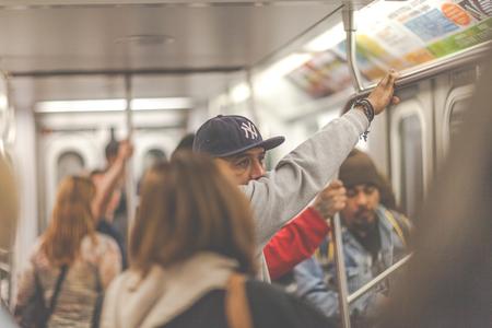 newyork: People riding the subway in Newyork