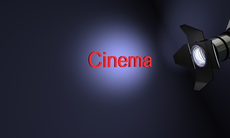 Studio with text cinema on blue background