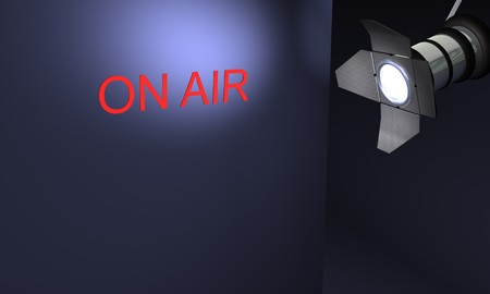 Studio with text on air on blue background Фото со стока