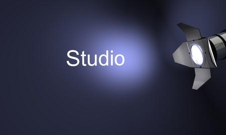 Studio with text studio on blue background Фото со стока