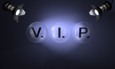 Studio with text VIP on blue background