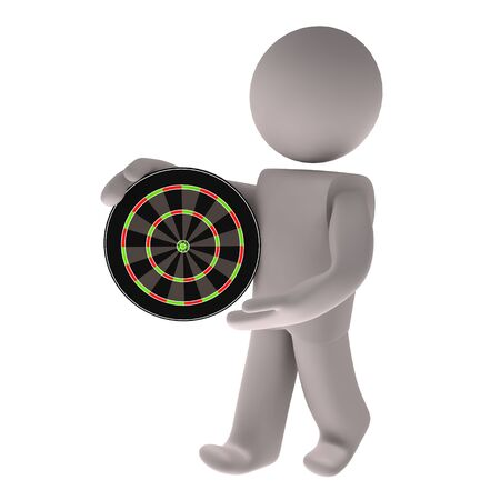 humane: People with dartboard on white background