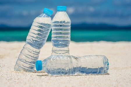 bottled water: Bottled water on a hot day at the beach