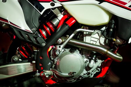 metalic background: Motorcycle engine, metalic background with with red details