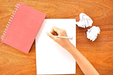 not open: Notebooks and paper  ideas before write. Do not waste paper Stock Photo
