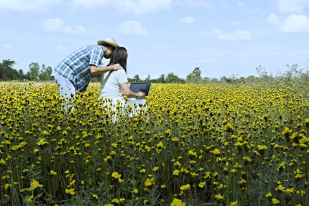 Lovers are actively working with the notebook computer,In a meadow with a natural backdrop in a rural Thailand.