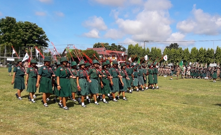 Phon Phisai District Nongkhai Province, Thailand,July 1, 2018. Teachers, teachers, scout leaders. Take the pledge ceremony and wear the field on the occasion of the founding of the National Scout Organization.