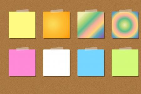 noticeboard: colorful memo on noticeboard