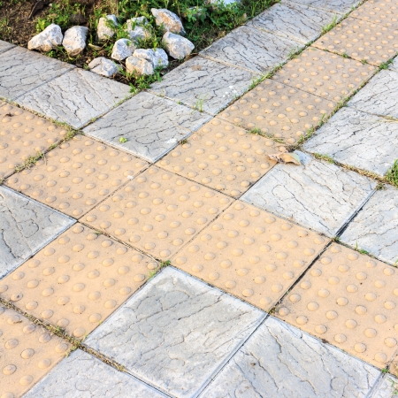 relievo: walkway in park with  tile footpath for a blind