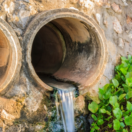 waste pipe or drainage polluting environment  concrete pipe