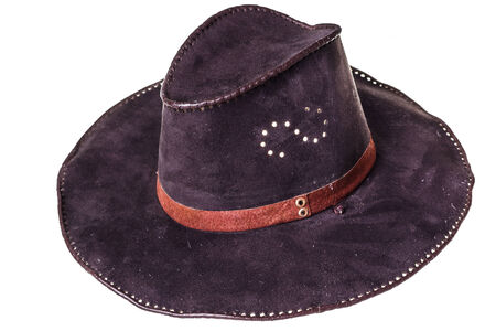 leather cowboy hat isolated on white Reklamní fotografie