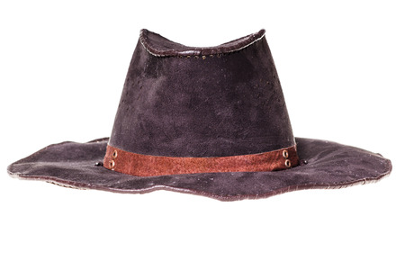 stetson: leather cowboy hat isolated on white