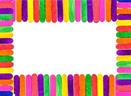 helados con palito: colorido marco de madera palo de helado