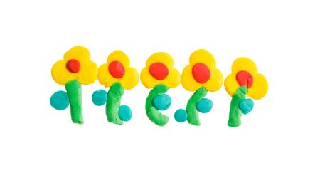 plasticine: flower from plasticine Stock Photo