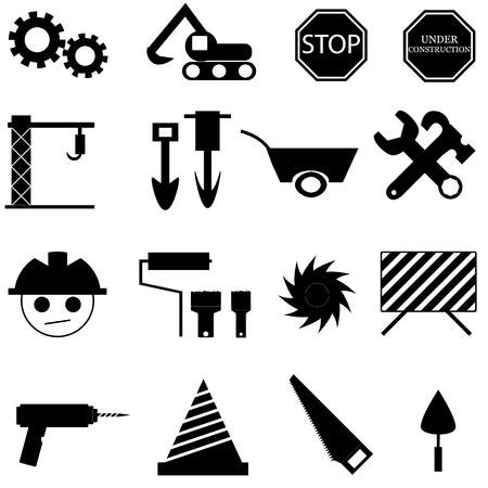 warning saw: Construction icon set